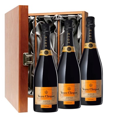 Veuve Clicquot 2012 Brut Vintage Champagne 75cl Three Bottle Luxury Gift Box