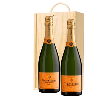 Veuve Clicquot Brut Champagne 75cl Twin Pine Wooden Gift Box (2x75cl)