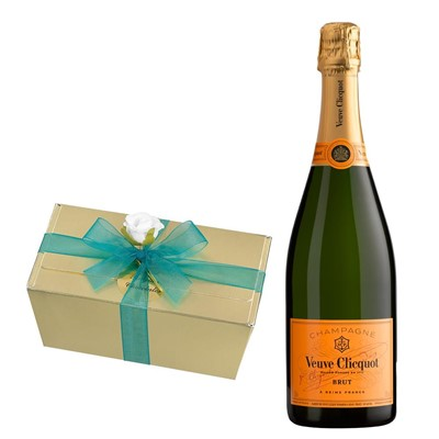 Veuve Clicquot Brut Champagne 75cl With Selection Of Milk, White And Dark Belgian Chocolates 460g