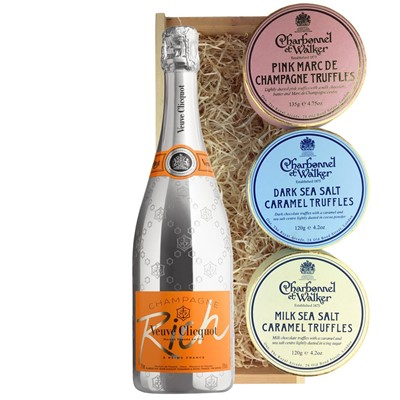 Veuve Clicquot Rich Champagne 75cl And Charbonnel Trio of Truffles Gift Box