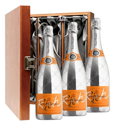 Veuve Clicquot Rich Champagne 75cl Three Bottle Luxury Gift Box