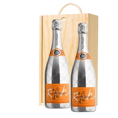 Veuve Clicquot Rich Champagne 75cl Twin Pine Wooden Gift Box (2x75cl)