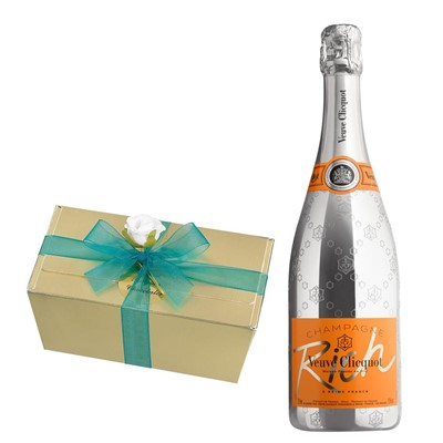 Veuve Clicquot Rich Champagne 75cl With Selection Of Milk, White And Dark Belgian Chocolates 460g