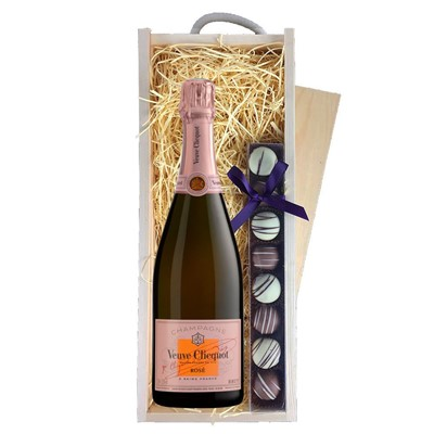Veuve Clicquot Rose Champagne 75cl & Champagne Truffles, Wooden Box