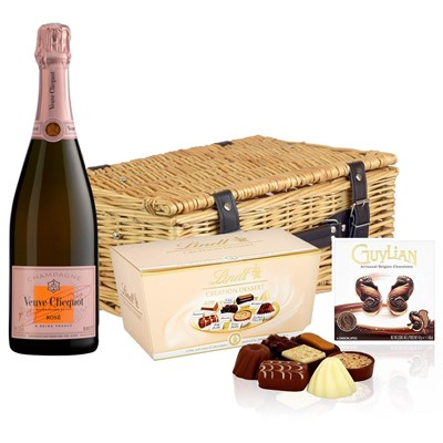 Veuve Clicquot Rose Champagne 75cl And Chocolates Hamper