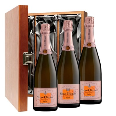 Veuve Clicquot Rose Champagne 75cl Three Bottle Luxury Gift Box