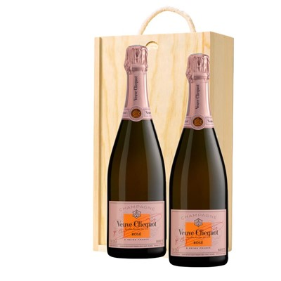 Veuve Clicquot Rose Champagne 75cl Twin Pine Wooden Gift Box (2x75cl)