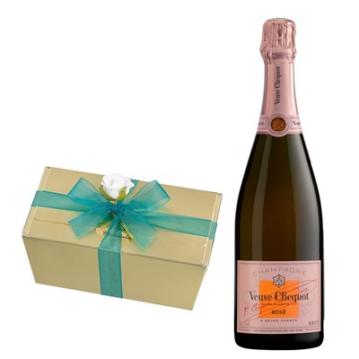 Veuve Clicquot Rose Champagne 75cl With Selection Of Milk, White And Dark Belgian Chocolates 460g