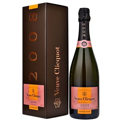 Buy a sinle bottle of Veuve Clicquot Vintage Rose 2008 Champagne 75cl Presented in a stylish Gift Box with Gift card for your personal message, A classic Vintage Champagne superbly made complex fruity and full of style. . Price includes free UK Mainland Delivery, and Exports and international delivery available.