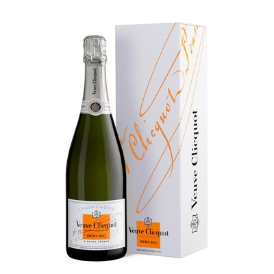 Veuve Clicquot Demi Sec 75cl Veuve Clicquot Ponsardins DemiSec Champagne, is blended from Pinot Noir and Pinot Meunier completed by about a quarter of Chardonnay and 15 25 of reserve wines. The higher dosage gives it richer notes without detracting from its freshness. Price includes free UK Mainland Delivery, and Exports and international delivery available.