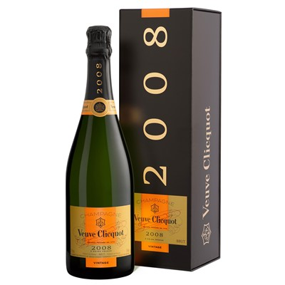 Buy A single bottle of vintage 2008 Champagne from the fine House of Veuve Clicquot size 75cl Presented in a stylish Gift Box with Gift Card for your personal message. Price includes free UK Mainland Delivery, and Exports and international delivery available.