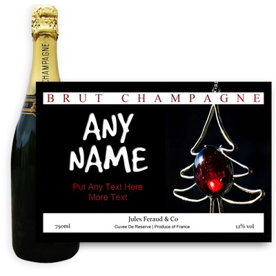 Personalised Champagne - Xmass 3 Label - A bottle of Champagne, Jules Feraud, Brut Cuvee personalised as a gift that is a perfect for celebrating with style! Create your very own Personalised Bottle of Champagne with your own message on the bottle, which is printed in full colour. Jules Feraud is a rich Champagne with savoury aromas. This deep, golden Champagne is powerful but elegant; strong bodied and dry yet still balanced. A fresh, fun and lively champagne for any occasion...and deliciously easy to drink! (Please Keep the Message to Maximum of 25 words, Gift Message will be used as message on the label)