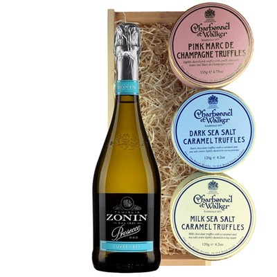 Zonin Cuvee DOC 1821 Prosecco 75cl And Charbonnel Trio of Truffles Gift Box