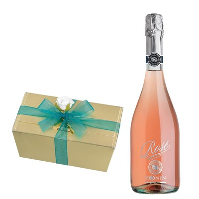 Zonin Sparkling Rose 75cl With Selection Of Milk, White And Dark Belgian Chocolates 460g