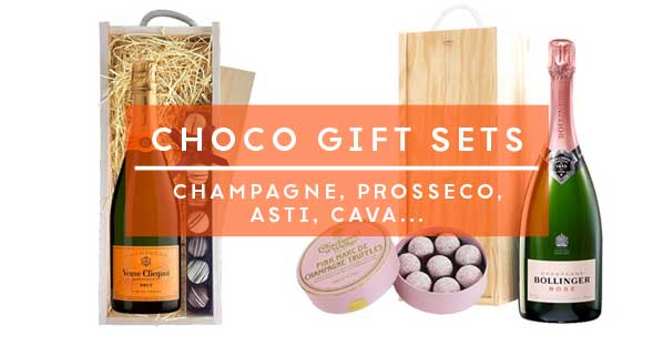 Sparkling wine or champagne with chocolates form Champers Direct