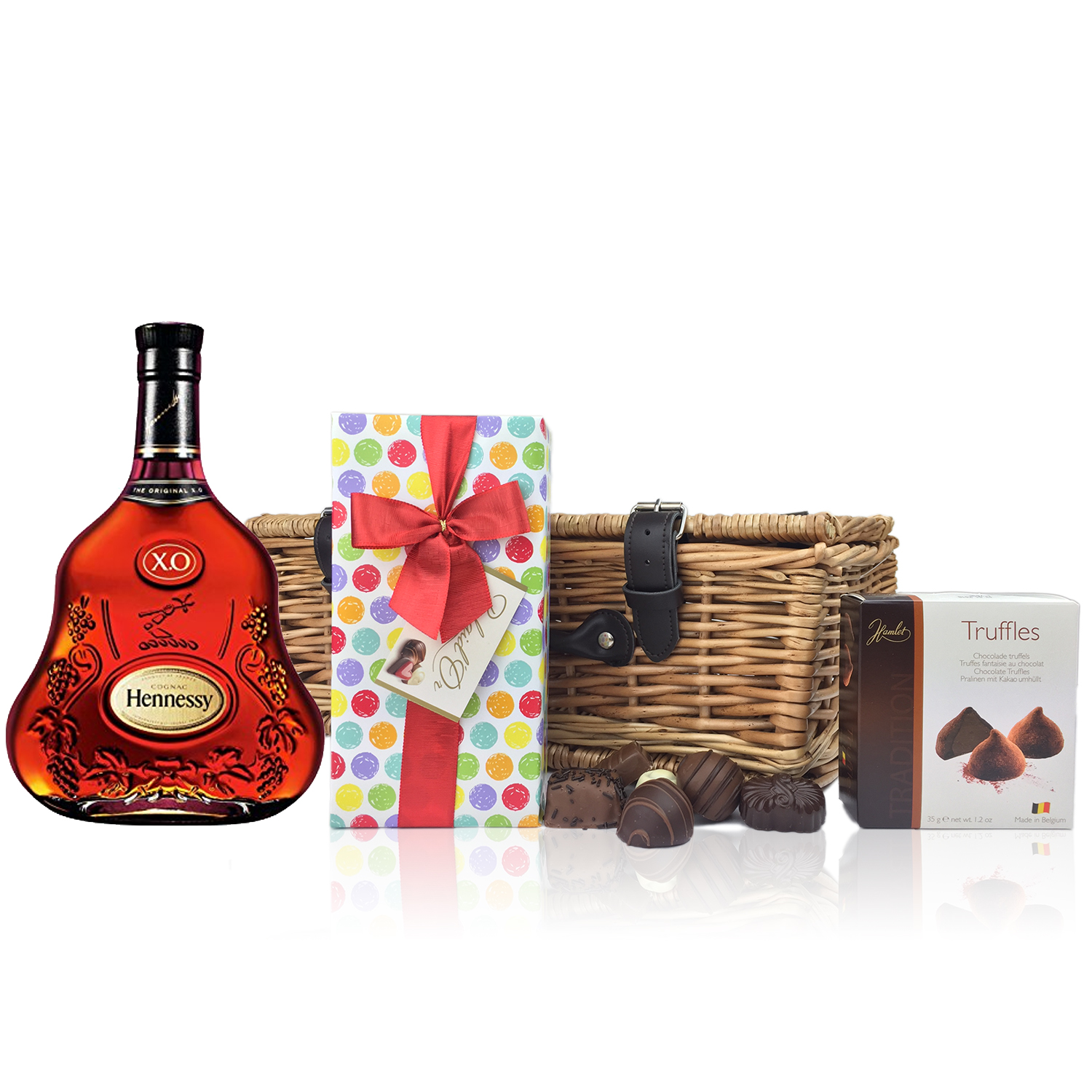 Hennessy 70cl X.O. Cognac and Chocolates Hamper A delightful gift of Hennessy 70cl X.O. along with ...