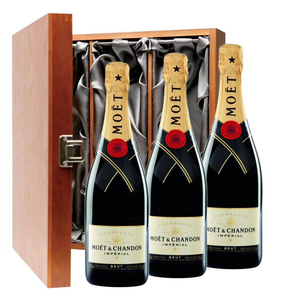 Moet & Chandon Brut Champagne 75cl Three Bottle Luxury Gift Box