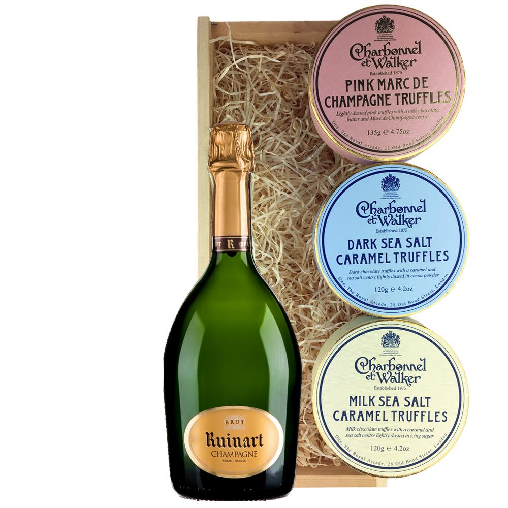Ruinart Brut Champagne 75cl And Charbonnel Trio of Truffles Gift Box