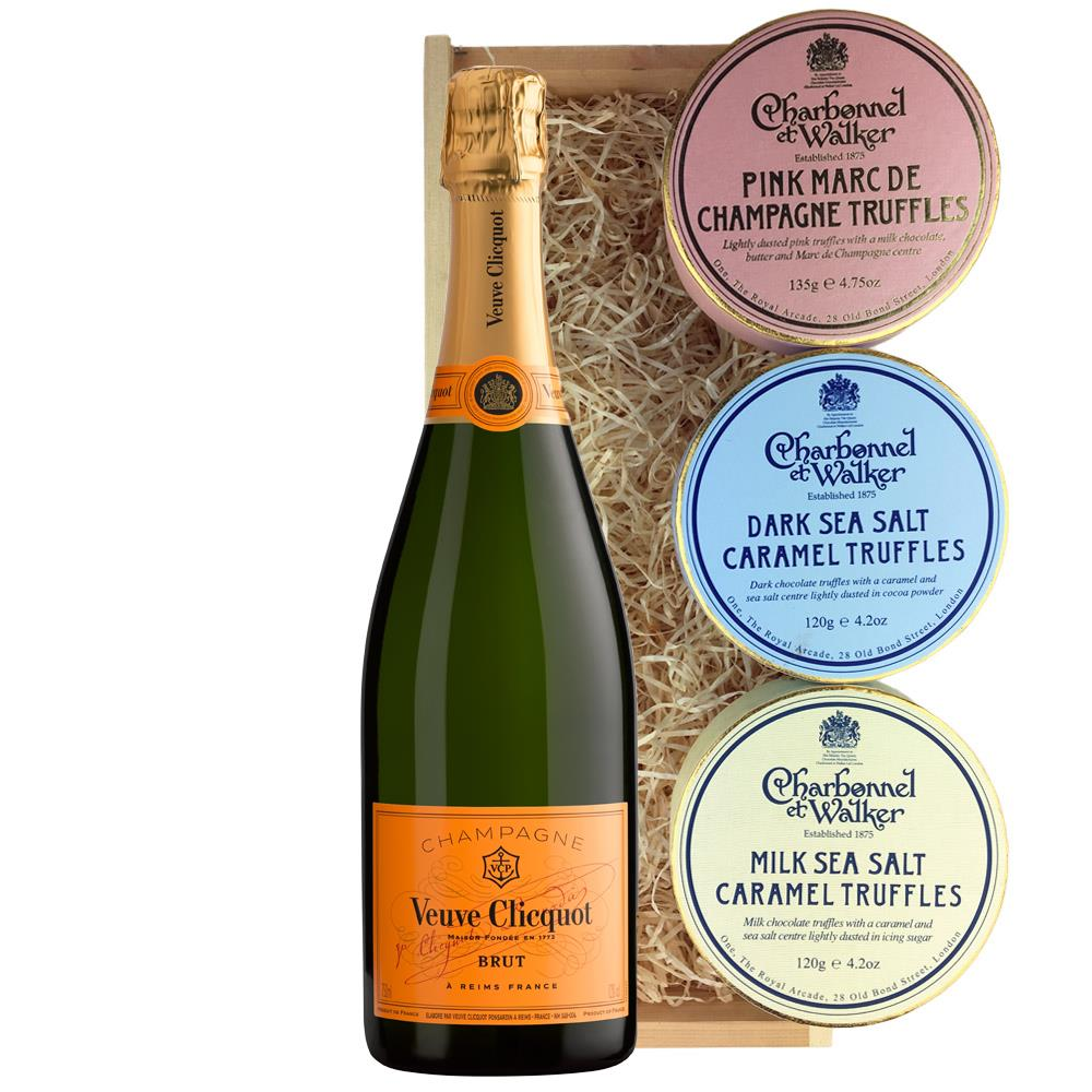 Veuve Clicquot Brut Champagne 75cl And Charbonnel Trio of Truffles Gift Box